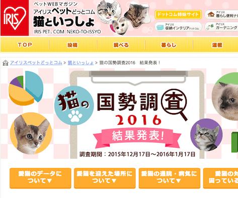 猫の国勢調査2016 – 愛猫の柄はキジトラが7年連続で1位に!