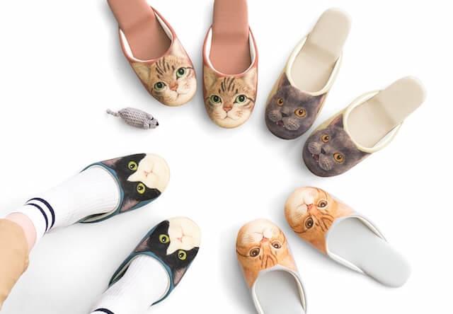 にゃんてこった!足音静かな猫足スリッパ