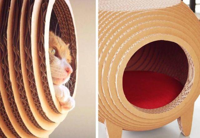 ダンボール製猫ハウス「RINGO+MACARON」(リンゴ プラス マカロン)