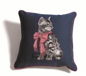 ジャカード織ネコのクッションカバー