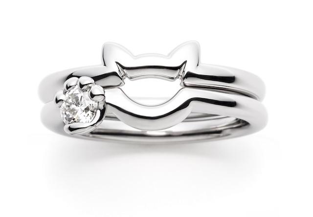 猫型デザインの結婚指輪「N.E.K.O」、猫好きカップルは必見