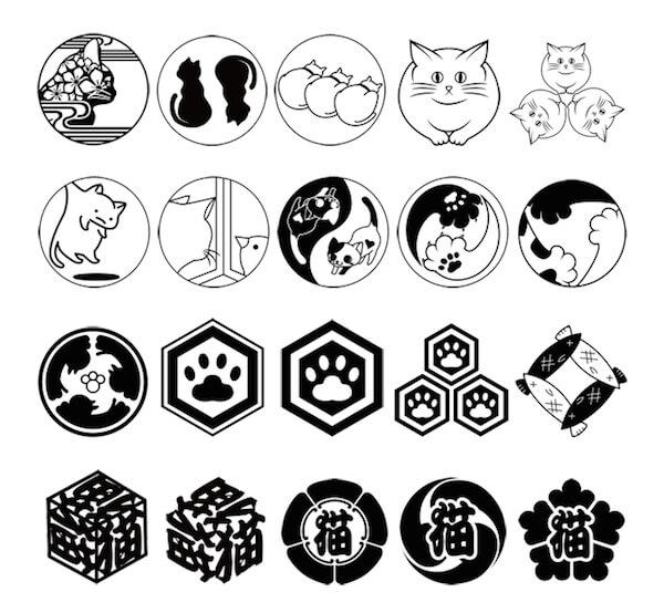 ねこもん表札の猫家紋は20種類