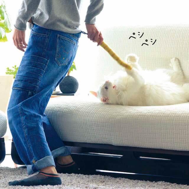しっぽで猫をおちょくる