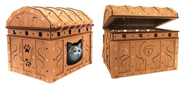 宝箱のダンボール猫ハウス