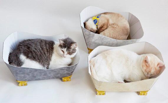 バスタブで寝る3匹の猫