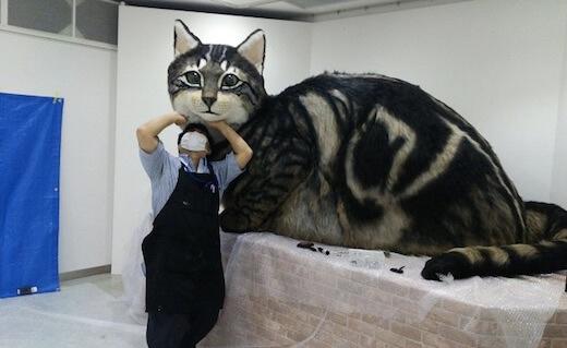 巨大リアル猫人形の制作風景1