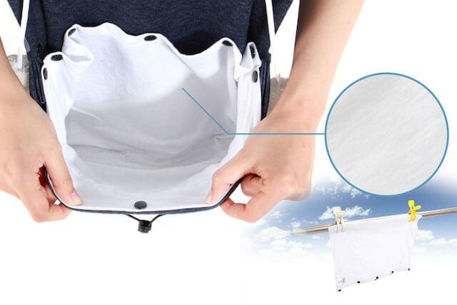 内ポケットの素材は肌触りがよい綿100%の生地を採用