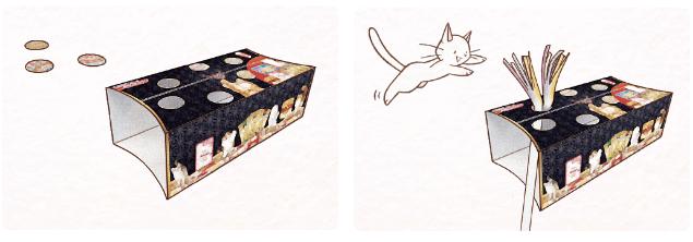 商品の箱は猫と遊べる作りになっています。