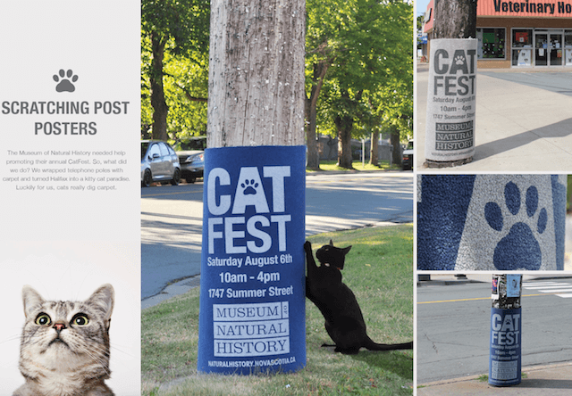 猫好きなら見てしまうニャ、猫展の広告に爪とぎを使う試み