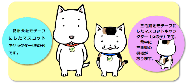 「三重県動物愛護推進センターの犬猫マスコットキャラクター