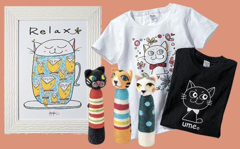 京成ねこフェスの猫雑貨や猫絵画