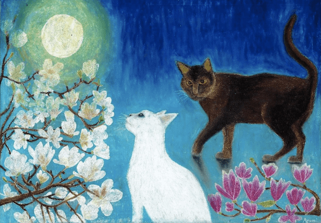 クレパスのスクラッチ技法で描かれた猫の絵画(湘南在住のアーティストAyumiさんの作品)