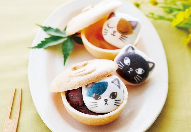 新作猫スイーツ、最中のお椀に入ったミニ和風ニャシュマロ