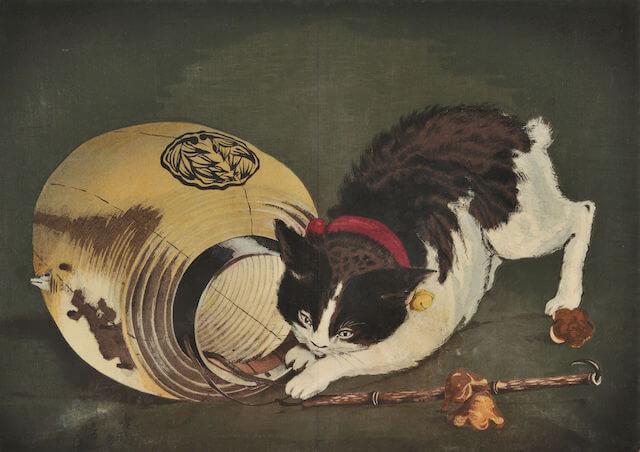 小林清親「猫と提灯」
