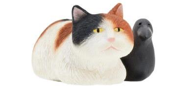 猫とカラスの寄り添いフィギュア(三毛)