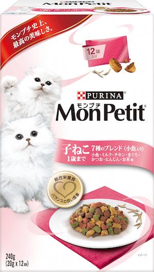 モンプチボックスタイプ、子猫 1歳まで7種類のブレンド(小魚入り)