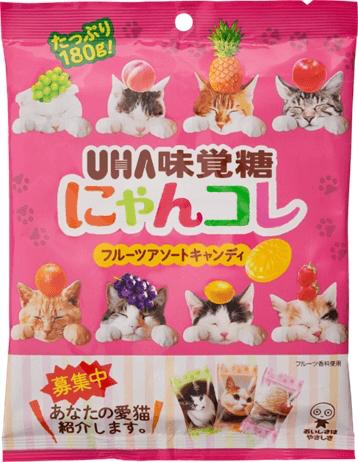 猫キャンディ「にゃんコレ」のパッケージには「のせ猫」の写真が