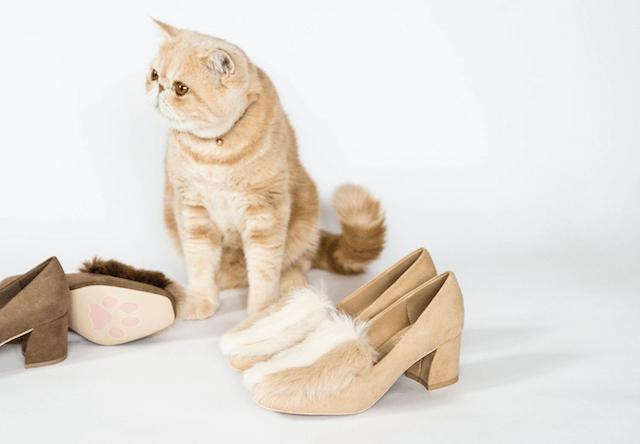 人気猫マッシュとコラボしたスクエアトゥファーパンプス(Square toe fur pumps)