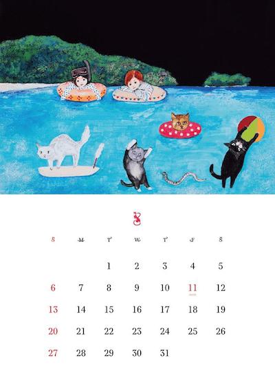 2017年版 猫づくしカレンダー(8月)