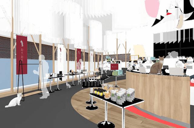 ネコ市ネコ座が開催される原宿ネスカフェの店内イメージ