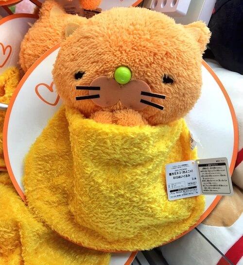 クレーンゲームの景品になった寝冷えネコ(きよニャ)、アドアーズ渋谷店