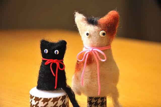 羊毛フェルトで猫の指人形を作ろう