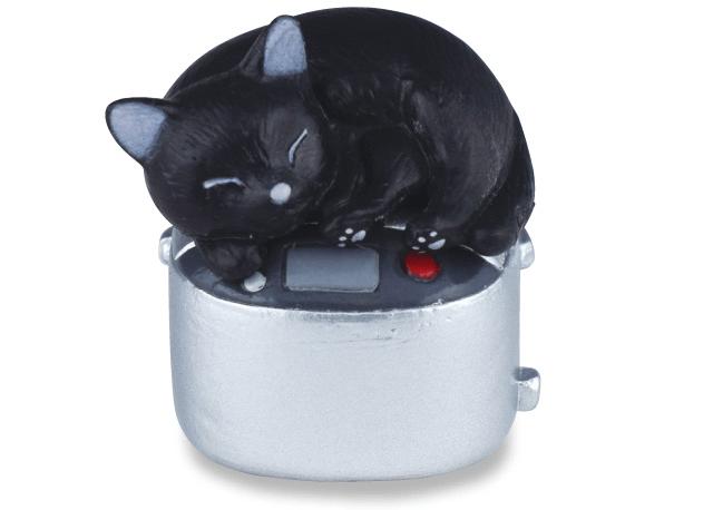 黒猫×炊飯器(猫のフィギュア 吾輩の定位置)