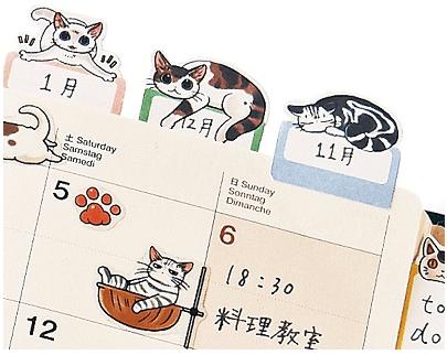 目印になるインデックスシールの使用イメージ(猫まみれ手帳シール)