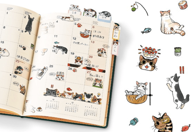 ペタペタ貼って手帳が楽しくなるフェリシモ猫部の「猫まみれ手帳シール」