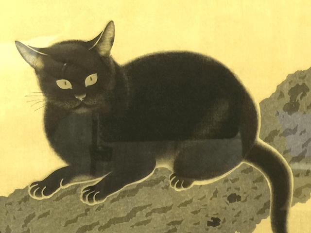 菱田春草「黒き猫」(浮世絵。部分)