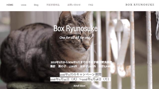 不妊手術キャンペーンなどのボランティア活動を行っている「Box Ryunosuke」