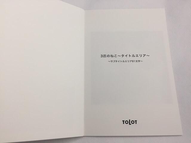 フォトブック「TOLOT」の実物レビュー、中表紙の写真