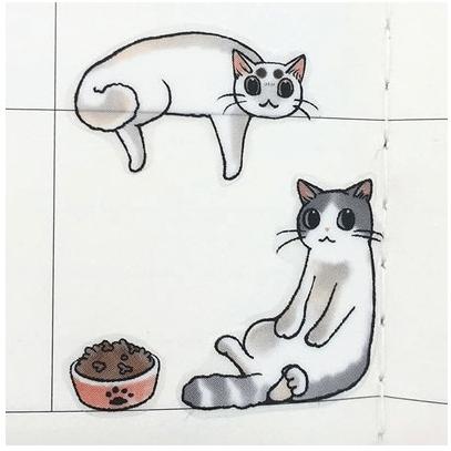 手帳を楽しく飾れるデコレーションシールの使用イメージ(猫まみれ手帳シール)