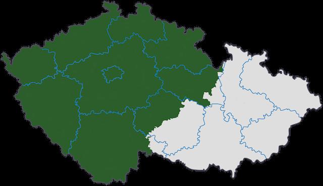 チェコのボヘミア地方の地図