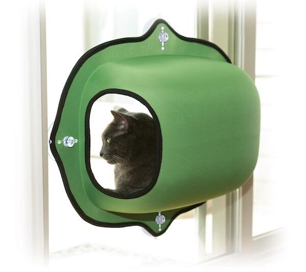 吸盤で窓に設置できる猫ハウス、EZ マウント ウィンドウ ポッド(グリーン)