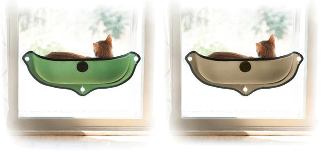 吸盤で窓に設置できる猫ベッド、EZ マウント ウィンドウ ベッド(グリーン&タン)