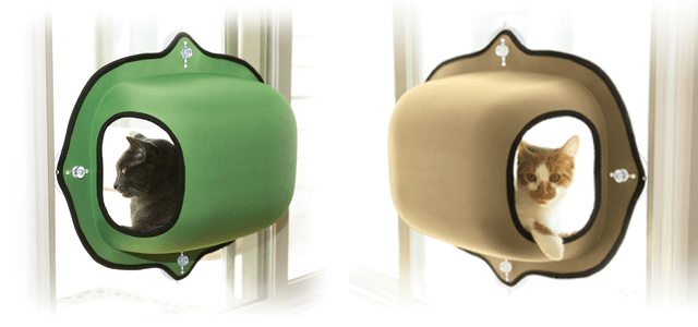 吸盤で窓に設置できる猫ハウス、EZ マウント ウィンドウ ポッド(グリーン&タン)