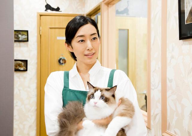 映画「ねこあつめの家」でペットショップの店主を演じる木村多江