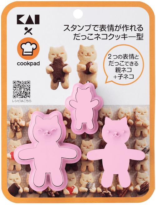 スタンプで表情が作れるだっこネコクッキー型