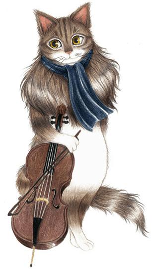 キャットシンフォニカのチェロ奏者、ノルウェージャンフォレストキャットのジャン=バティスト・デュカス