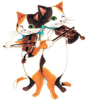 キャットシンフォニカのバイオリン奏者、三毛猫姉妹の「ソラ・ヤマノハ」と「フウカ・ヤマノハ」