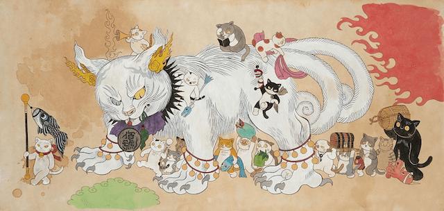 石黒亜矢子の猫作品「鬼子母猫百号」