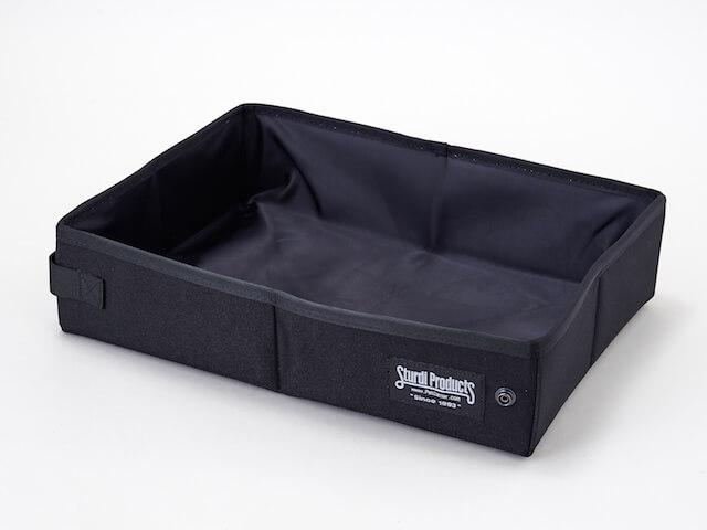 携帯用猫トイレ「サンドボックス」を広げた状態(ブラックカラー)