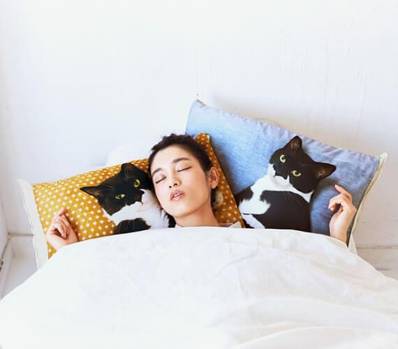 人気猫「ギズモさん」の枕カバー、実際の使用イメージ