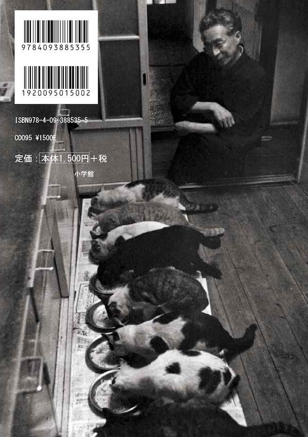 食事中の猫を嬉しそうに眺める大佛次郎、書籍「大佛次郎と猫」の裏表紙