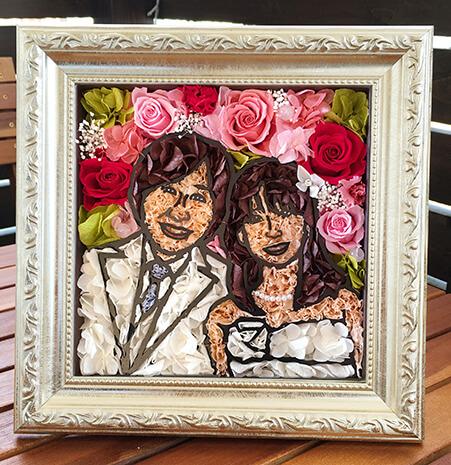 写真からつくるカップルの似顔絵フラワー「ウェルカム似顔絵フラワー」