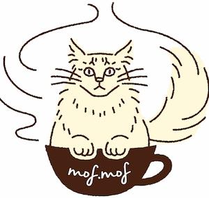 メインクーン専門の猫カフェ mof.mof(モフモフ)のロゴ