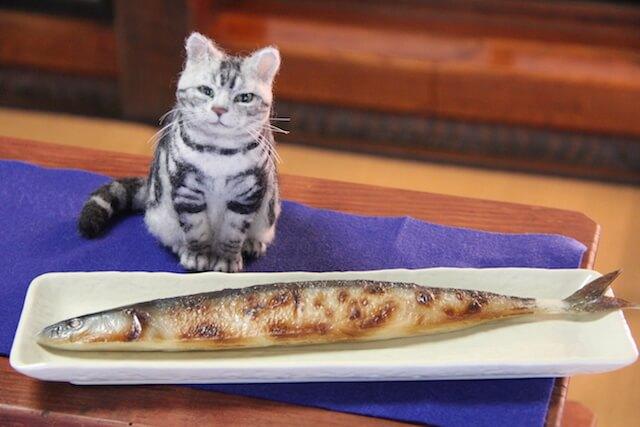 中山みどりさんの羊毛フェルト作品、オーダーメイドで制作した魚の前に座る猫
