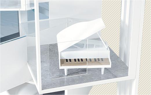 デザイニャーズハウス 3Fには大きなグランドピアノ型の爪とぎが設置
