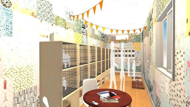 保護猫譲渡会専用のトレーラハウスの内部イメージ